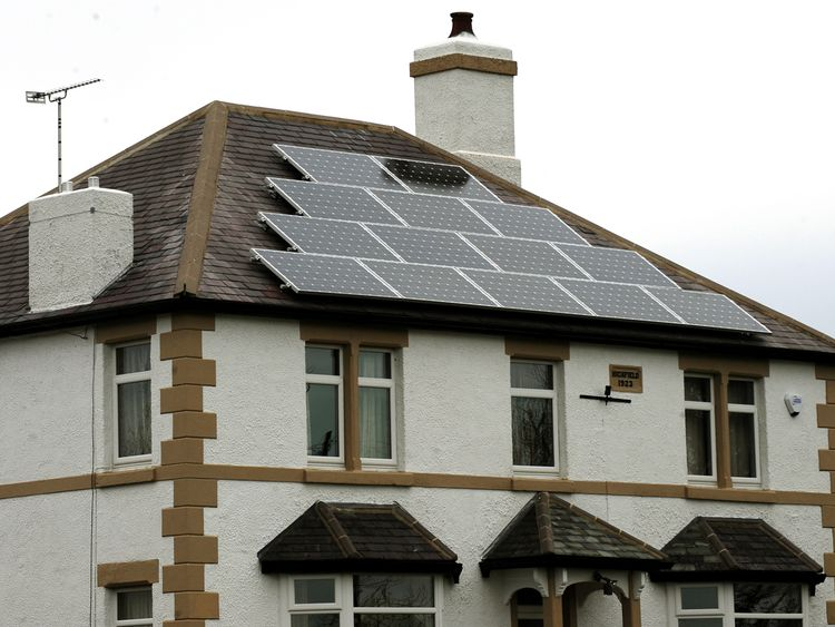 A general view of solar panels on a roof of a house in Derbyshire.
