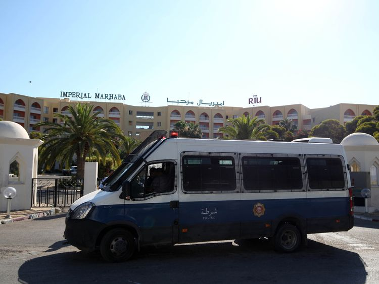 A police vehicle outside the front of the RIU Imperial Marhaba hotel in Sousse, Tunisia