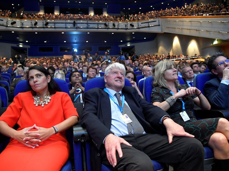 Boris Johnson's father Stanley Johnson, his sister Rachel Johnson and Conservative MP Priti Patel