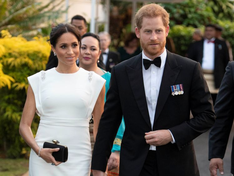 The Duke and Duchess of Sussex arrive at a state dinner in Tonga
