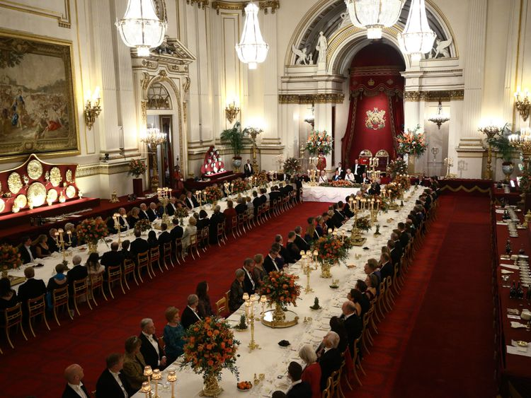 The Queen delivered a speech during the state banquet to mark the visit of the Dutch royals