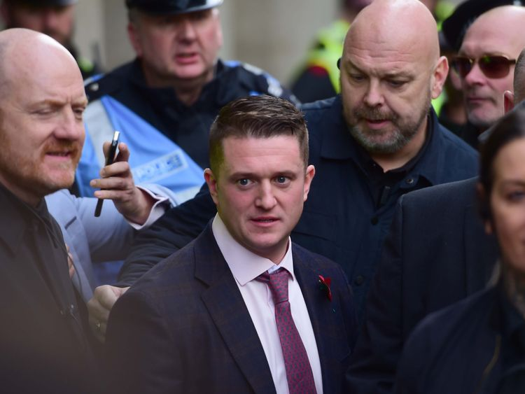 Tommy Robinson and Ukip leader Gerard Batten leads 'Brexit Betrayal' march