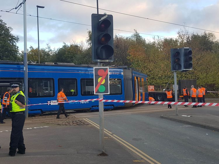 Emergency services at the scene in Staniforth Road Sheffield where a tram collided with a lorry on the Sheffield Supertram system. PRESS ASSOCIATION Photo. Picture date: Thursday October 25, 2018. The collision on Thursday afternoon happened just hours after the official opening of UK's first tram-train service was launched