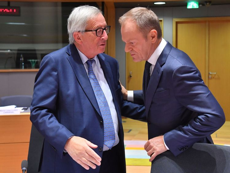 Donald Tusk, right, with the European Commissio president Jean-Claude Juncker