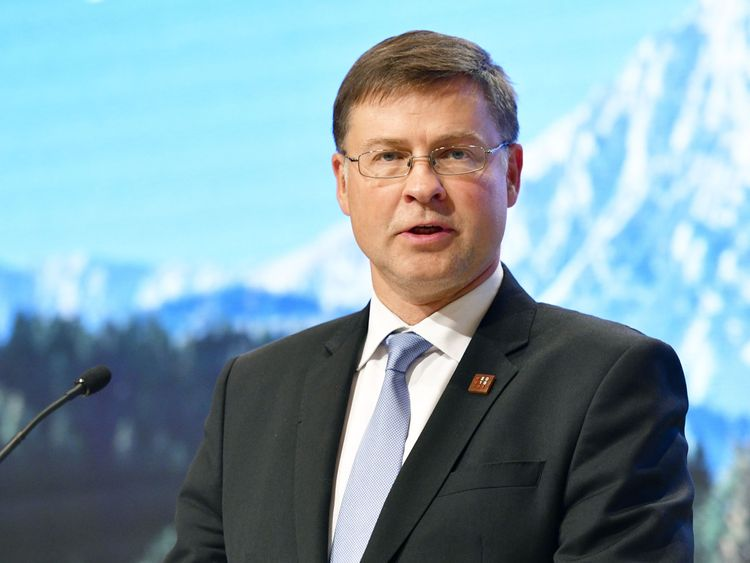 Valdis Dombrovskis, European Commissioner for the Euro and Social Dialogue, Financial Stability, Financial Services and Capital Markets, gives a news conference following an Eurogroup meeting, Informal meeting of economic and financial affairs ministers in Vienna, Austria, on September 8, 2018