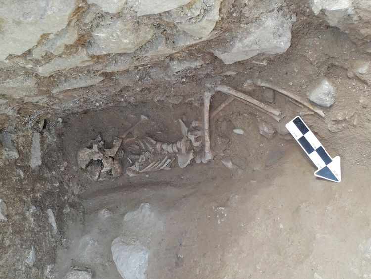 A 10-year-old was discovered lying on its side in a fifth-century Italian cemetery previously believed to be designated for babies, toddlers and unborn fetuses. Credit: David Pickel/Stanford University