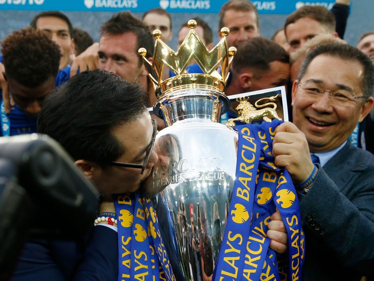 Leicester City soccer club's team owner Vichai Srivaddhanaprabha takes part in a parade to celebrate club's English Premier League title in Bangkok, Thailand May 19, 2016. REUTERS/Athit Perawongmetha  Picture Supplied by Action Images