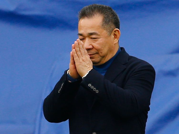 "Football Soccer - Leicester City v Southampton - Barclays Premier League - The King Power Stadium - 3/4/16 Leicester City chairman Vichai Srivaddhanaprabha reacts as he walks to his helicopter which has landed on the pitch after the game Reuters / Darren Staples Livepic EDITORIAL USE ONLY. No use with unauthorized audio, video, data, fixture lists, club/league logos or ""live"" services. Online in-match use limited to 45 images, no video emulation. No use in betting, games or single club/league/pl"