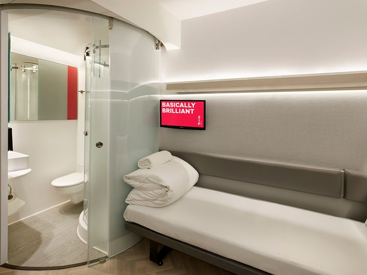 Each of the 'compact' rooms has a bathroom and power shower. Pic: Whitbread