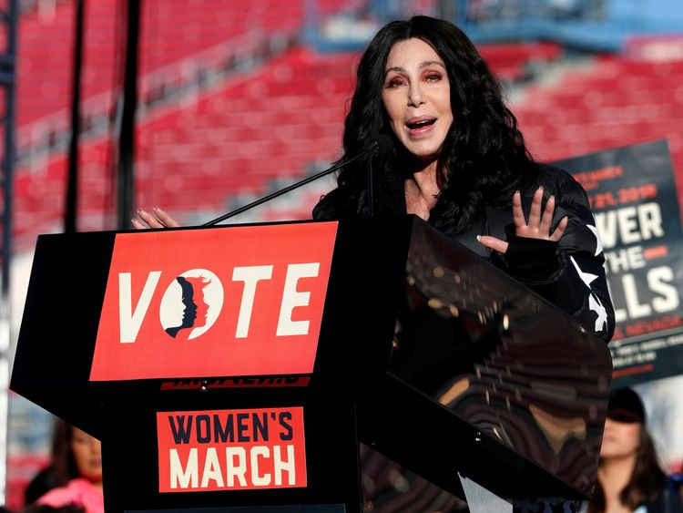 Celebrities, including Cher, spoke passionately at this year's women's march in Las Vegas