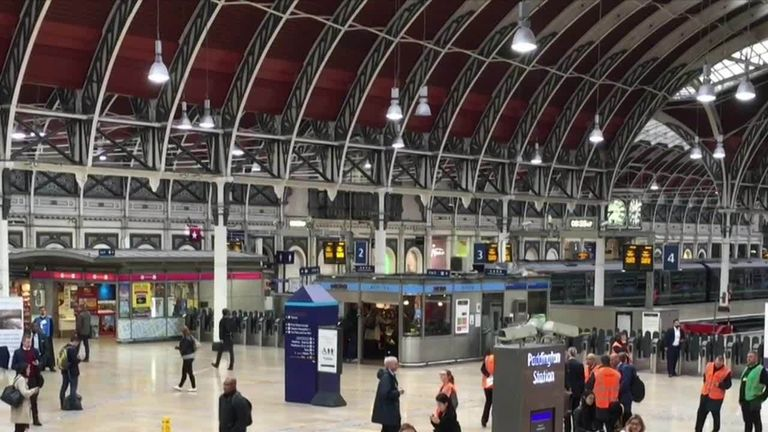 Paddington station was left deserted in the morning rush hour after  services were halted following damage to overhead cables