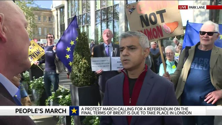 Sadiq Khan at the peoples vote march.