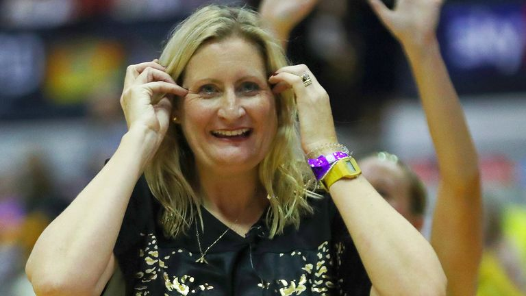 Head coach Mel Mansfield gives her reaction after winning the Fast5 All-Stars tournament