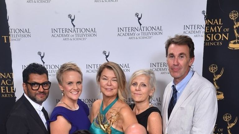 The Sky News team after receiving the 2018 International Emmy for News