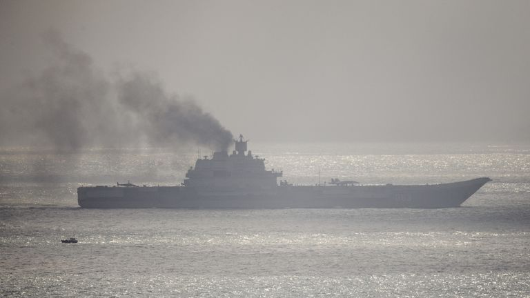 The Russian aircraft carrier Admiral Kuznetsov passes through the English channel in 2016 near Dover