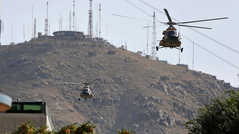 Afghan Air forces helicopters fly during an operation in 2017. File pic