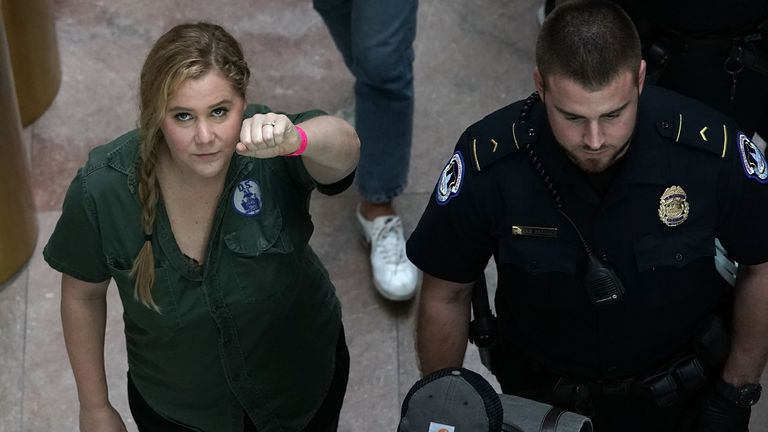 Comedian Amy Schumer is led away after she was arrested during the protest