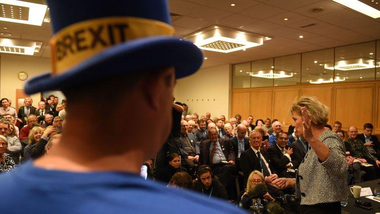 Anna Soubry address a Conservative Party conference fringe event