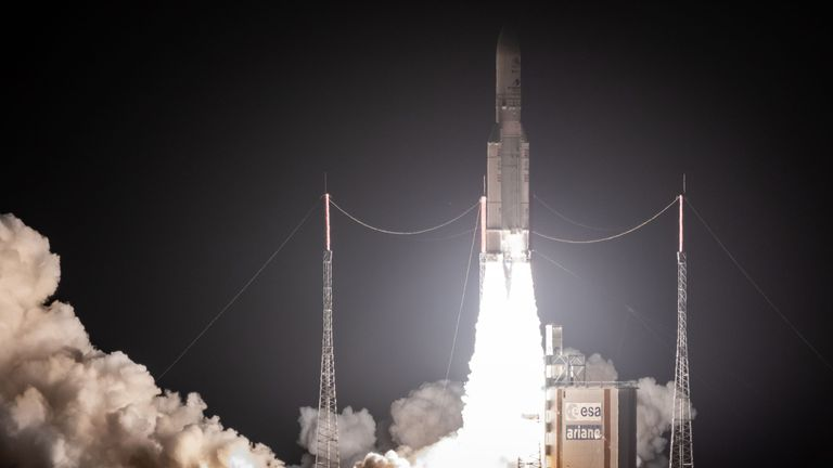 An Ariane 5 lifts off form its launchpad in Kourou, at the European Space Center in French Guiana