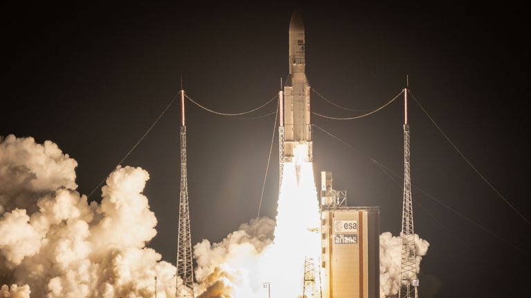 Ariane 5 rocket lifts off for it's 100th mission to space from Kourou, French Guiana, on September 25, 2018