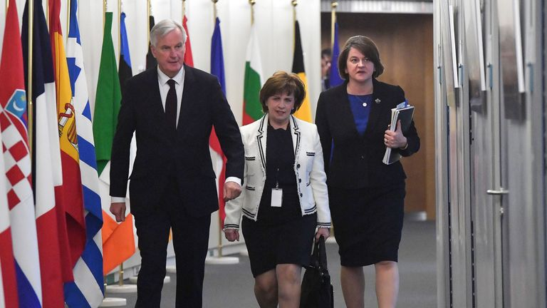 Leader of Northern Ireland Democratic Unionist Party (DUP) Arlene Foster (R) and DUP European Parliament memeber Diane Dodds (C) meet with EU Chief Brexit negotiator Michel Barnier