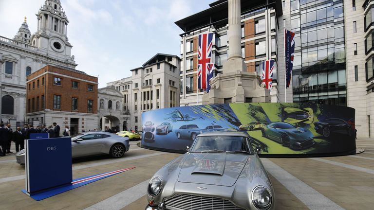 The DB5 used by Sean Connery in James Bond movie Goldfinger was among Aston Martin cars on display outside the LSE