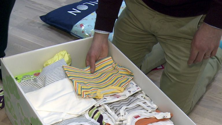 The contents of a Finnish baby box, where the idea originates