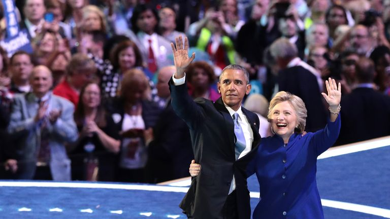 Barack Obama and Hillary Clinton in 2016