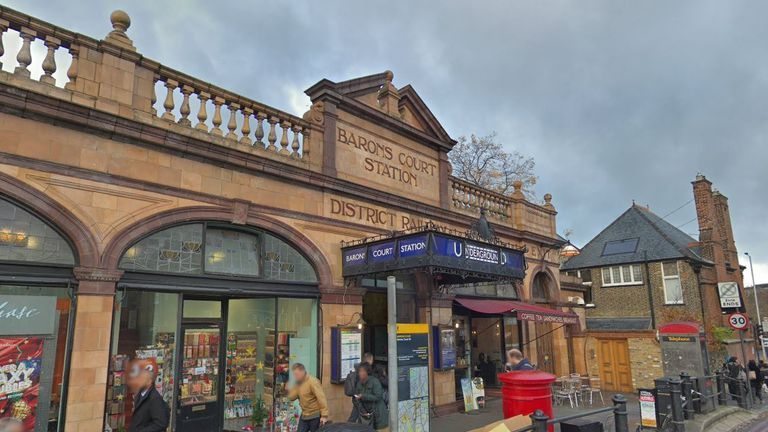 The incident took place at Barons Court station at 11.15pm on Sunday