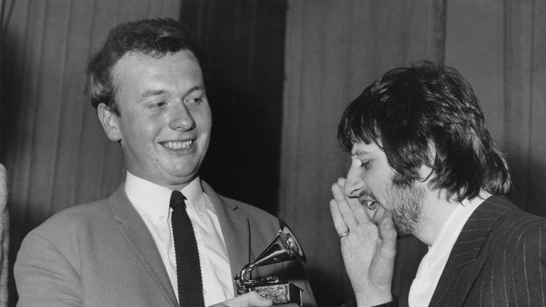 Ringo Starr congratulates Geoff Emerick on his Grammy for Sgt Pepper's Lonely Hearts Club Band