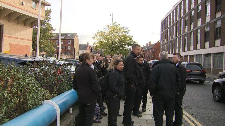 Striking prison officers outside Bedford Prison
