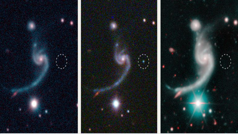 The three panels represent moments before, during, and after the faint supernova iPTF14gqr, visible in the middle panel, appeared in the outskirts of a spiral galaxy located 920 million light years away. The massive star that died in the supernova le