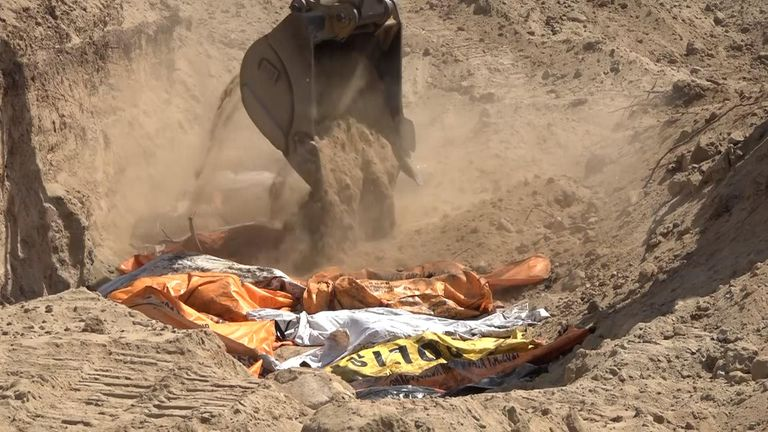 Body bags after Indonesia disaster