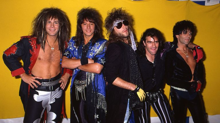 Bon Jovi at the Monsters of Rock Festival in Castle Donington, Leicestershire, 1985. Pic: Ilpo Musto/REX/Shutterstock
