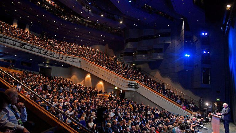 Boris Johnson addresses delegates at a Conservative Home fringe meeting