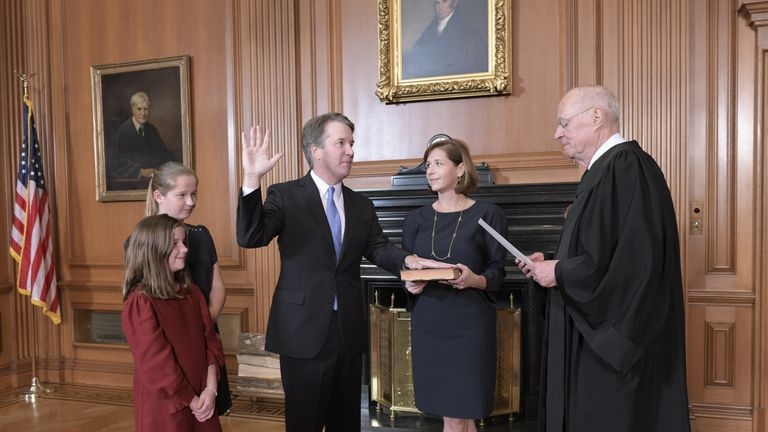 Judge Kavanaugh being sworn in. Pic: Fred Schilling, Collection of the Supreme Court of the United States