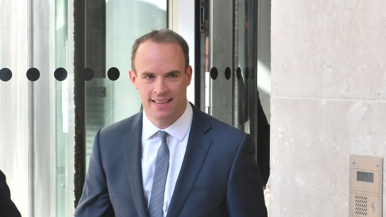 Brexit Secretary Dominic Raab leaves BBC Broadcasting House in London after appearing on the Andrew Marr show