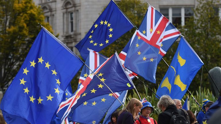 Protestors gather for an anti-Brexit march, organised by the 'Best For Britain' campaign group, in central Birmingham on September 30, 2018, on the sidelines of the Conservative Party Conference 2018