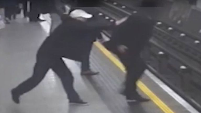 CCTV shows Tobias French being pushed at Tottenham Court Road station by Crossley