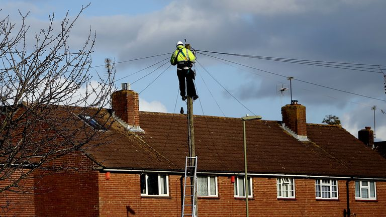 A BT Openreach engineer working on telephone lines in Havant, Hampshire as BT broadband and landlines are down across the UK, the company has said.