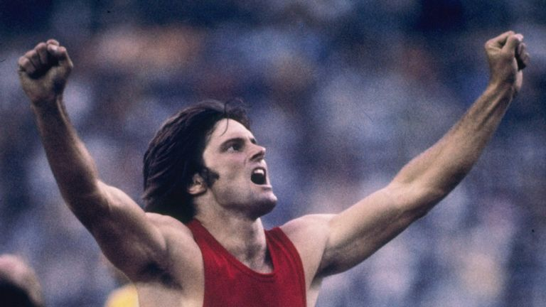 Bruce Jenner celebrating a record-setting performance in the decathlon in the 1976 Olympics