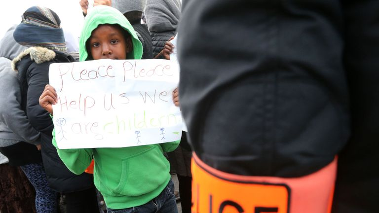 Many of the children applying for entry into the UK were staying at a makeshift camp in Calais
