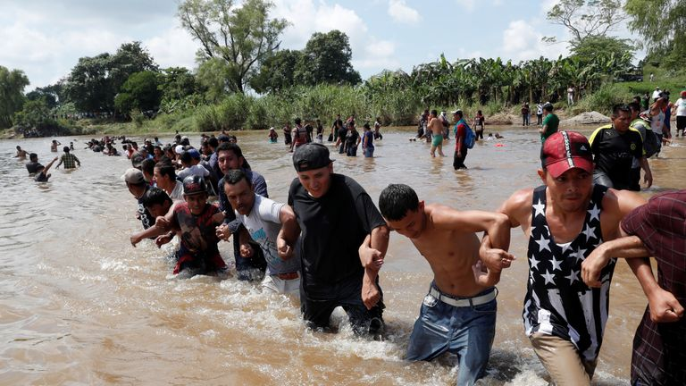 Another caravan of migrants crossed the Suchiate River in between Guatemala and Mexico