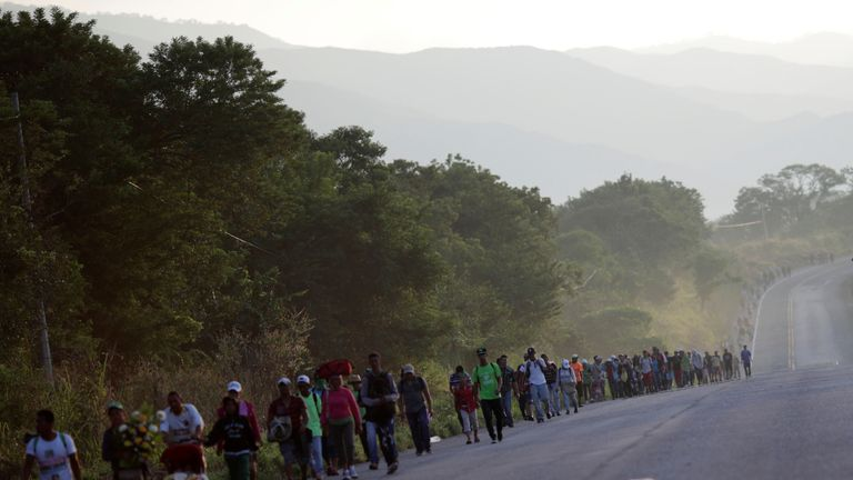 The 3,000-strong caravan made its way to Santiago Niltepec, a town in southwestern Mexico