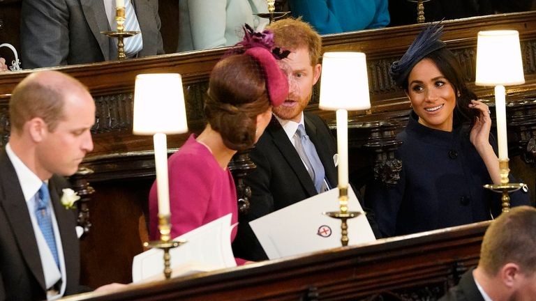 Catherine, Duchess of Cambridge with Prince Harry and Meghan, Duchess of Sussex