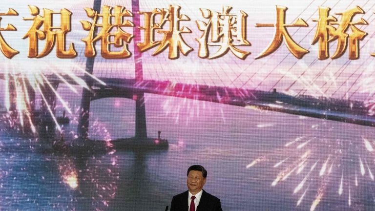 Chinese President Xi Jinping opened the bridge at a ceremony