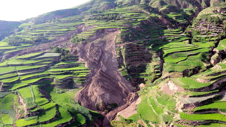 An example of liquefaction causing a landslip during a 6.6 earthquake in China in 2013