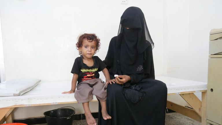 22-year-old Salwa* and her two-year-old son Aseel*. Pic: Ali Ashwal / Save the Children