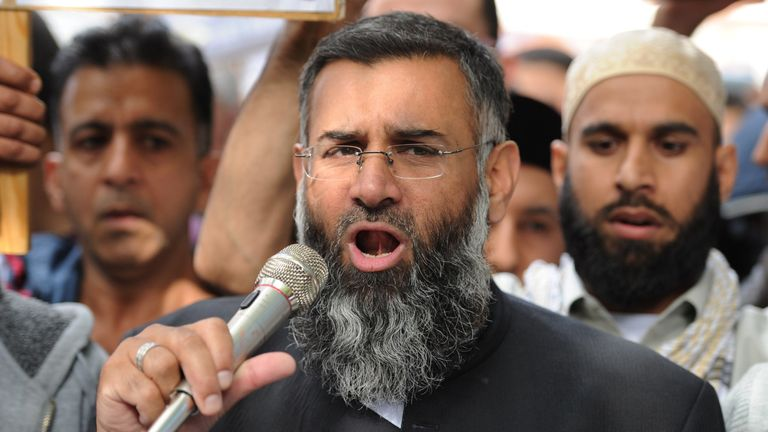 Anjem Choudary speaks to a group of demonstrators in 2012
