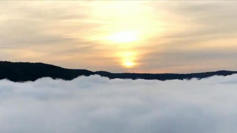 Low cloud cover blankets Chattanooga in Tennessee